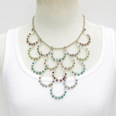 Hand-Looped & Bead Wrapped Wire Necklace with Round, Semi-Precious Stone Beads, 15 Loops in 5 Rows