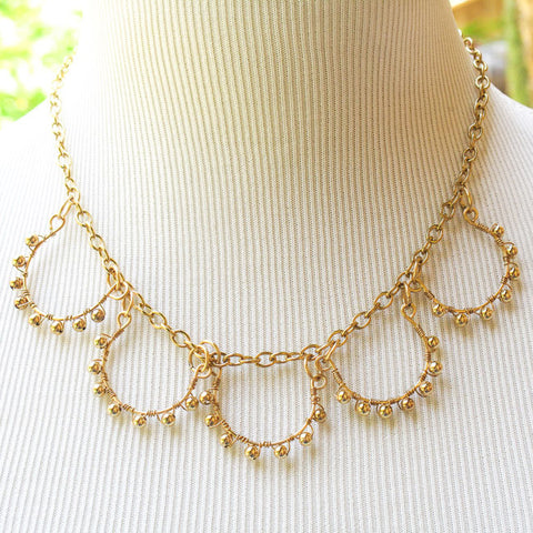 5-Loop, Hand-Beaded Goldtone Necklace with Gold-Plated Brass Beads