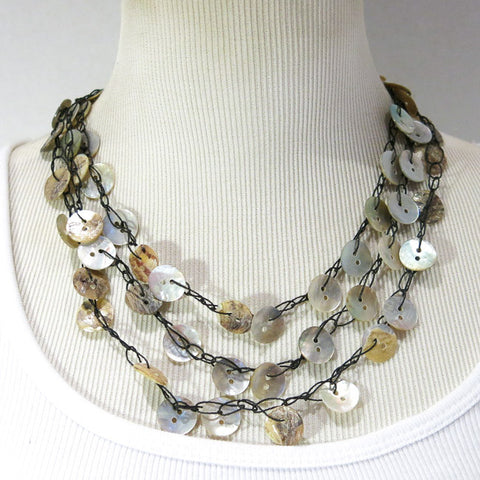 Button Necklace, Triple Strand, Crocheted with Natural Shell Buttons