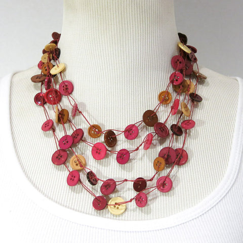 Button Necklace, Knotted, Multi-Strand Reds & Tans