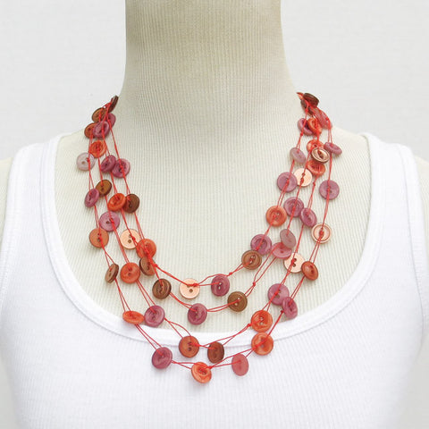 Hand-Crocheted, Multi-Strand Reds, Browns & Pinks Button Necklace