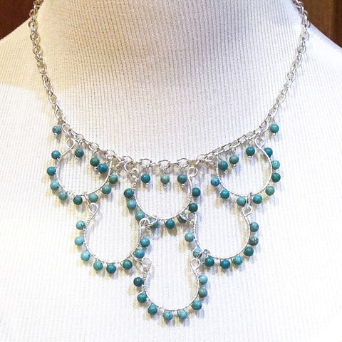 6-Loop, Silver-Plated, Hand-Beaded Wire Loop Necklace w/Turquoise Magnesite Semi-Precious Stones