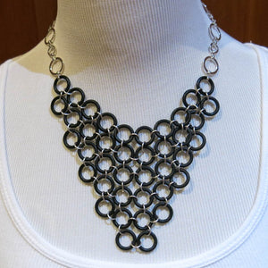 Chain Maille Bib Necklace with Rubber O-Rings