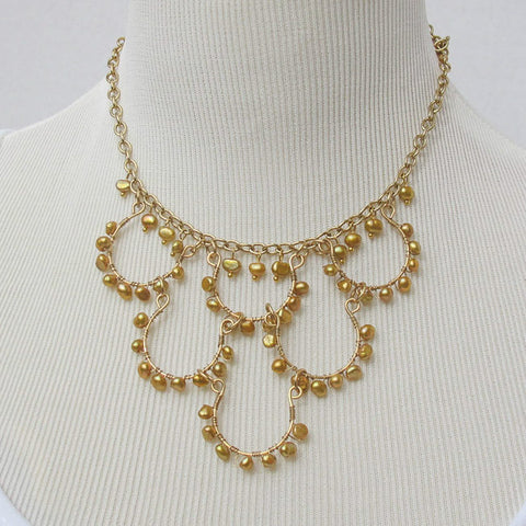 6-Loop, Hand-Formed, Hand-Beaded Goldtone Wire Necklace with Gold Freshwater Pearls