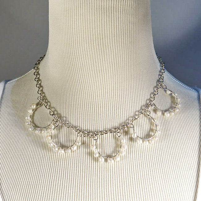 5-Loop, Hand-Shaped, Bead-Wrapped Wire Loop Necklace with Freshwater Pearls
