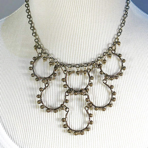 Hand-Shaped Antique Brass Wire Necklace with Antique Brass Beads