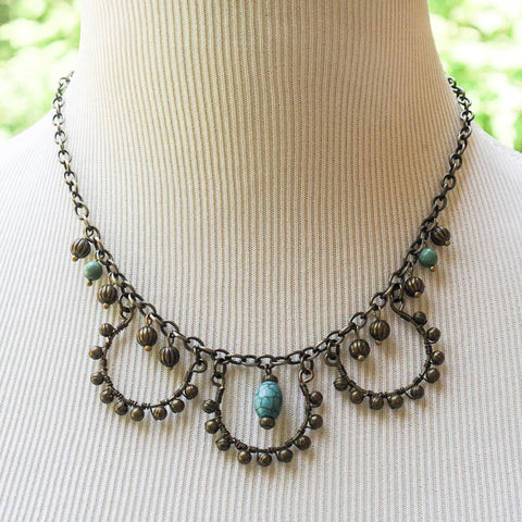 3-Loop, Hand-Beaded Antique Brass Necklace with Turquoise Magnesite Focal Bead