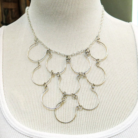 10-Loop, Silver-Plated, Hand-Shaped Wire Necklace