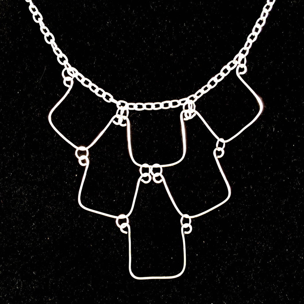6-Square, Hand-Shaped Squares Necklace