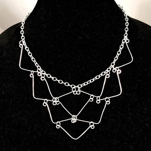 10-Triangle, Hand-Shaped Geometric Necklace