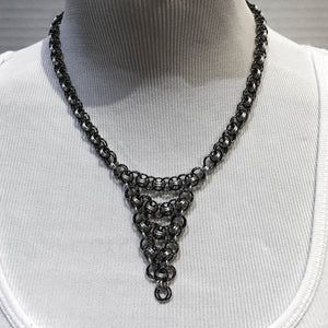 Parallel Chain Triangle Drop Chain Maille Necklace