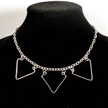 Load image into Gallery viewer, 3-Triangle, Hand-Shaped Geometric Wire Necklace