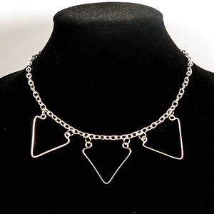 3-Triangle, Hand-Shaped Geometric Wire Necklace