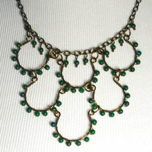 Load image into Gallery viewer, 6-Loop, Hand-Shaped, Bead-Wrapped, Wire Loop Necklace with Gemstones