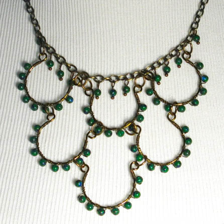 6-Loop, Hand-Shaped, Bead-Wrapped, Wire Loop Necklace with Gemstones