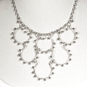 6-Loop, Hand-Shaped, Bead-Wrapped, Wire Loop Necklace with Matching Metal Beads