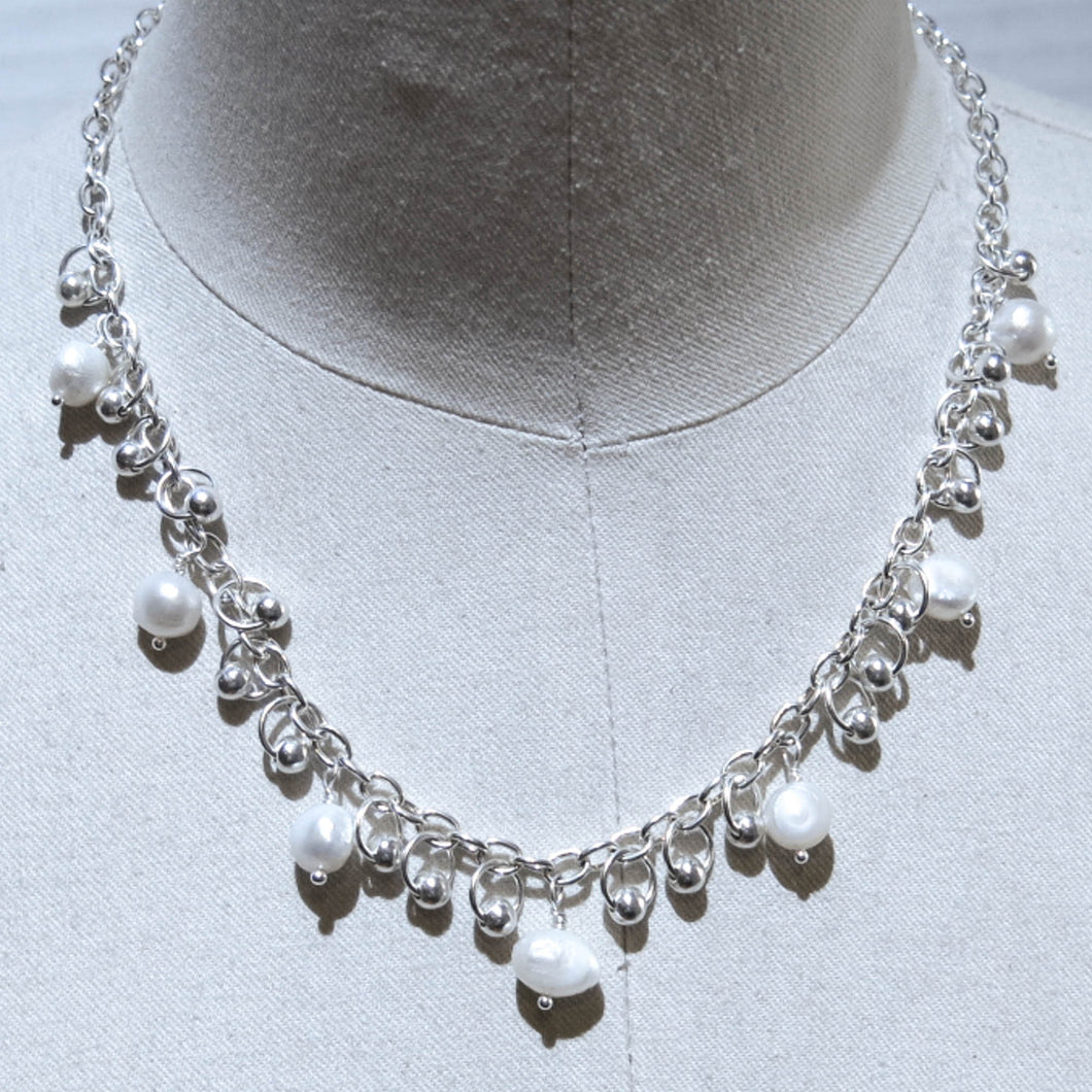 Dangling Beads Necklace with Freshwater Pearls & Metal Beads