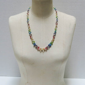 Rainbow Chain Maille Necklace with Glass Seed Beads
