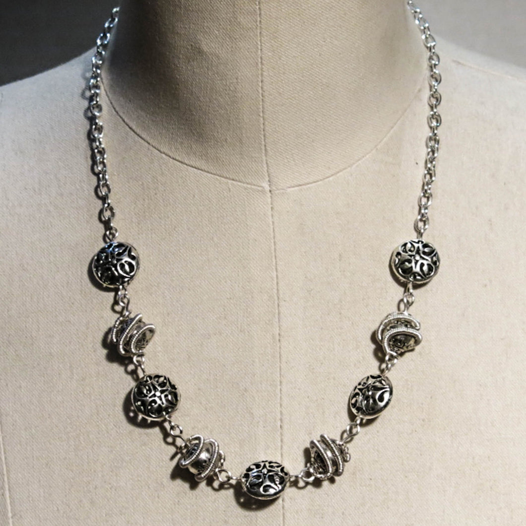 Orbit Necklace with Spiral-Wrapped Pewter Beads