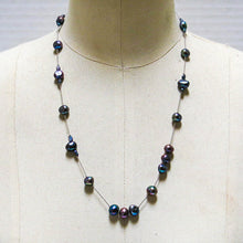 Load image into Gallery viewer, Floating Design Peacock Blue-Gray Freshwater Pearl Necklace