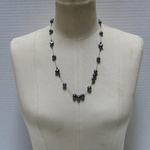Floating Design Peacock Blue-Gray Freshwater Pearl Necklace
