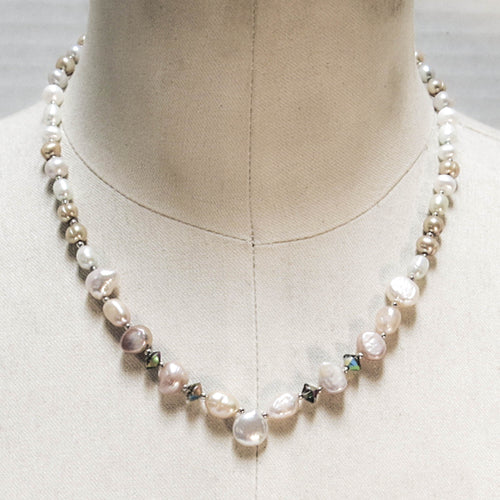 Multicolor Freshwater Pearl Necklace with Pearl Teardrop Focal