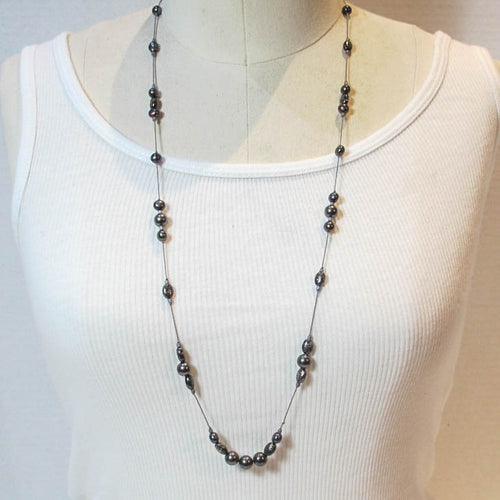 Floating Design Freshwater Pearl & Textured Metal Beads Necklace
