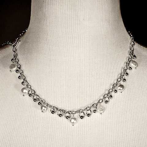 Silver-Plated Dangling Beads Necklace with White Freshwater Pearls & Silver-Plated Beads