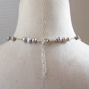 Floating Design Dove Gray Freshwater Pearl Necklace