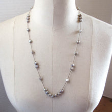 Load image into Gallery viewer, Floating Design Dove Gray Freshwater Pearl Necklace