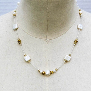 Square Freshwater Pearl Necklace with Gold Accents