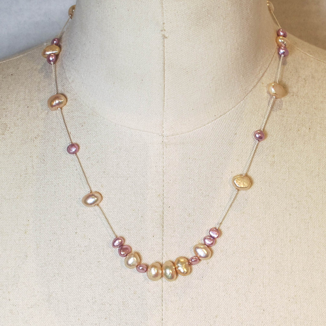 Floating Design Pink & Peach Freshwater Pearl Necklace
