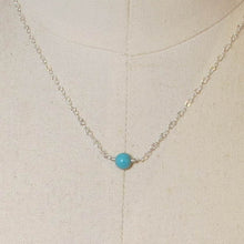 Load image into Gallery viewer, Tiny Single Gemstone Necklace - Turquoise Magnesite