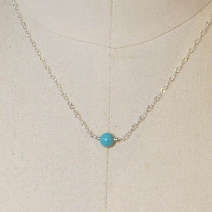 Tiny Single Gemstone Necklace - Turquoise Magnesite