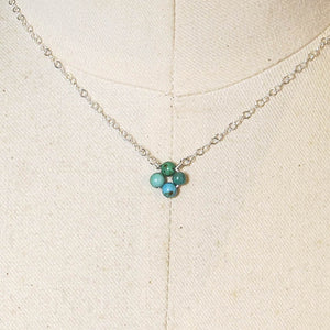 Tiny, 4-Leaf Clover Gemstone Necklace - Turquoise