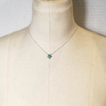 Load image into Gallery viewer, Tiny, 4-Leaf Clover Gemstone Necklace - Turquoise