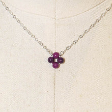 "Load image into Gallery viewer, Tiny, 4-Leaf Clover Gemstone Necklace - Purple Mountain ""Jade"""