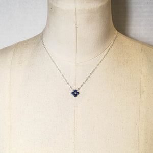 Tiny, 4-Leaf Clover Gemstone Necklace - Lapis Lazuli