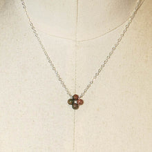 Load image into Gallery viewer, Tiny, 4-Leaf Clover Gemstone Necklace - Unakite