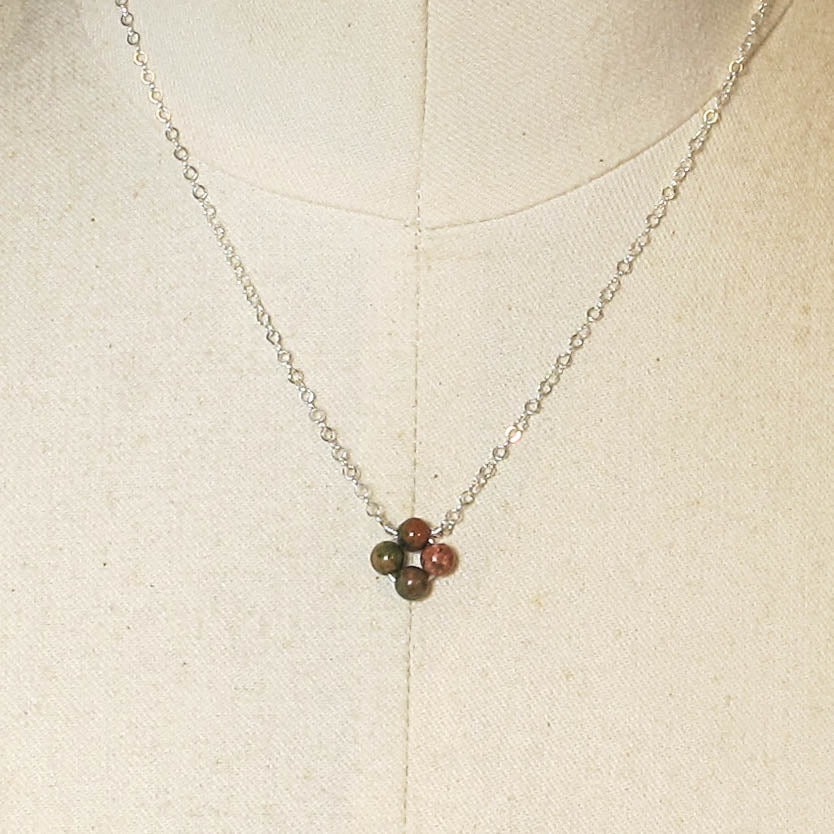Tiny, 4-Leaf Clover Gemstone Necklace - Unakite