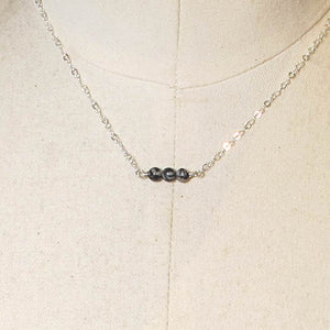 Tiny Gemstone Necklace - Black Silk Stone