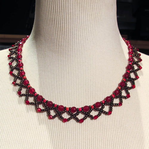 Zoom Recording & Handout Only of Netted Seed Bead Necklace Class