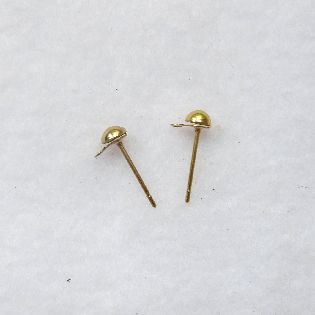 Small Round Post Earrings Findings, Gold-Plated