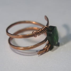Hammered Triple Row Helix Ring with Swarovski Crystal, Copper