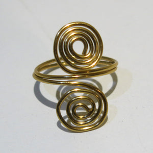 Double Spirals Adjustable Wire Ring