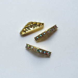 Spacers, Metal with Rhinestones, 3-Hole (click for colors)