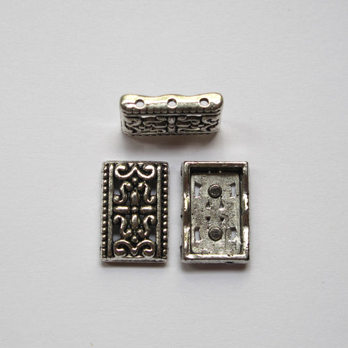 Spacers, Decorative Metal, 3-Hole, Silver-Colored Pewter