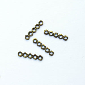 Spacers, Rounded Metal, 5-Hole (click for colors)