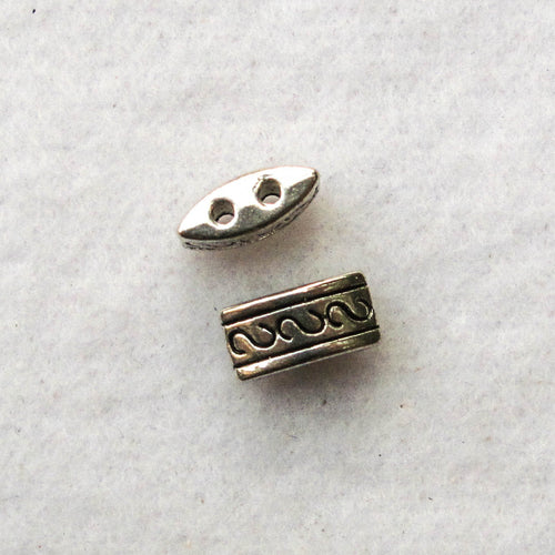 Spacers, Decorative Metal, 2-Hole, Silver-Colored Pewter