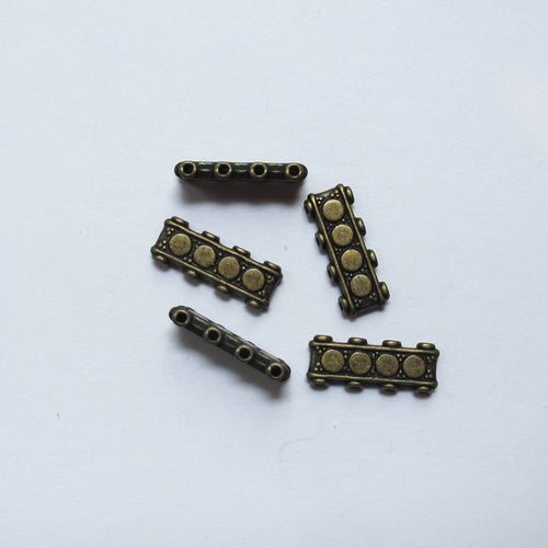 Spacers, Decorative Metal, 4-Hole, Antique Brass